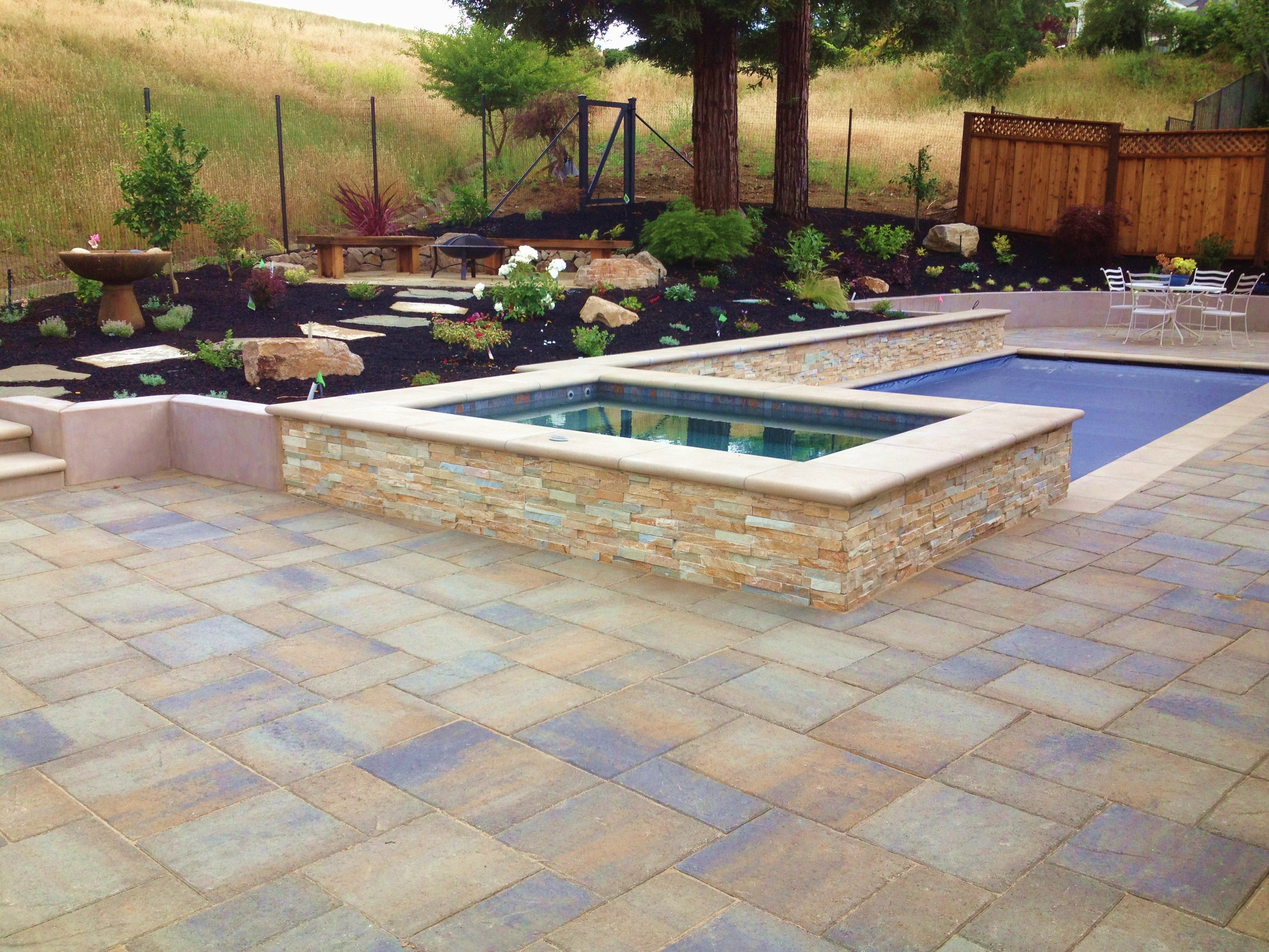 Hardscapes liedstrand landscaping Flagstone pavers around pool